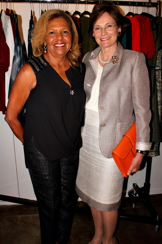 22 Yvonne Cormier, left, and Bobbie Nau at the Dress for Dinner kickoff in new David Peck Showroom September 2014