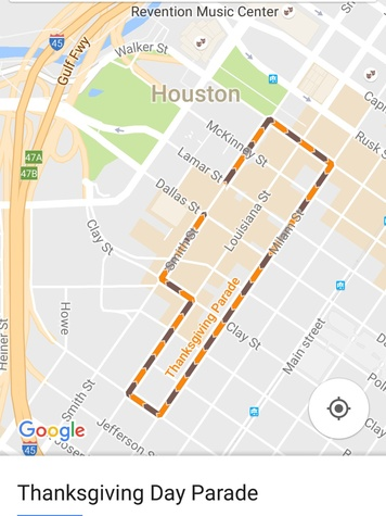 Google Maps Houston Thanksgiving Parade cropped photo