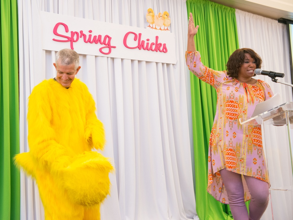 0117 Jim McIngvale and Deborah Duncan at the Spring Chick luncheon April 2015
