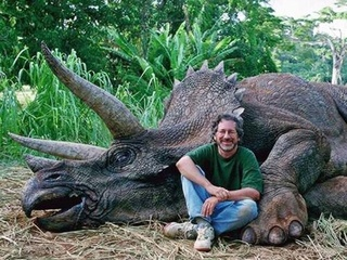 Steven Spielberg with a triceratops