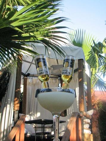 El Pueblito Patio margarita with Corona beer on patio