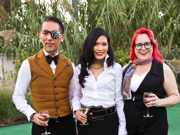 Marc Huynh, from left, Duyen Huynh and Thedra Cullar-Ledford at the Bill Viola Aurora Picture Show Award party October 2013