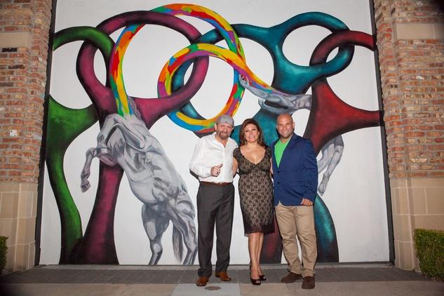 News, Shelby, Muir Gallery mural project party, July 2015, John Lockhart, CJ Alvarez, Verny Sanchez