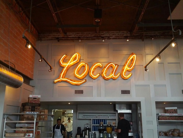 Local Foods neon sign interior