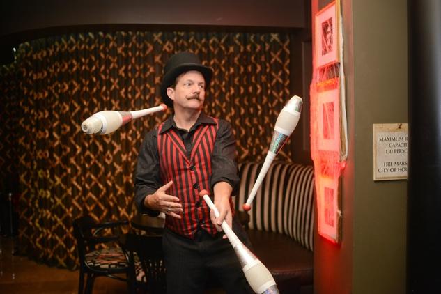 Jetspeed Productions juggler at Hotel ZaZa's Halloween Bash November 2014