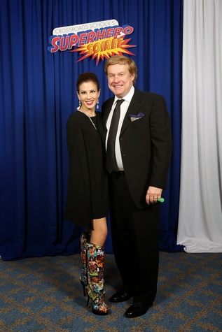 "Liane and Charles Harrell at Crossroads School's ""Superhero Soiree"" Gala February 2015"