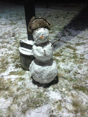 snow in Houston snowman