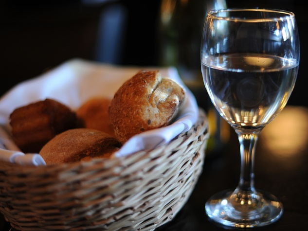 bread in basket and glass of water