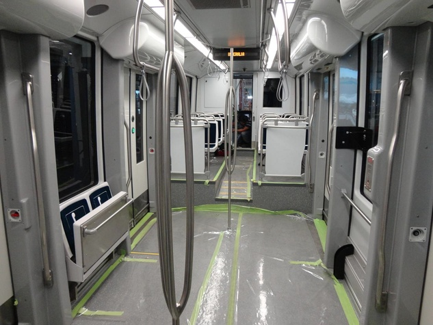 Houston METRO, new train car, interior, October 2012