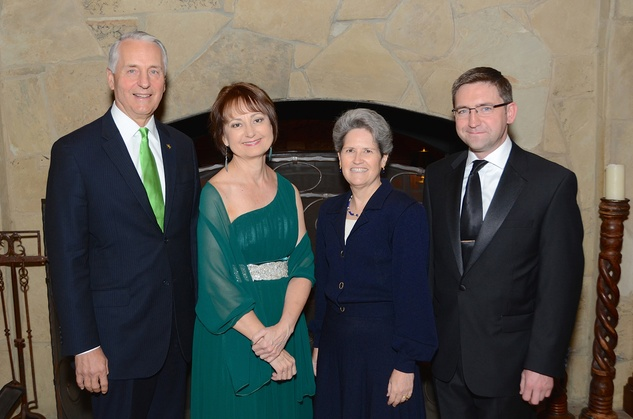 Dr. Robert Ivany, from left, Michele Malloy, Lori Gallagher and Adrian Farrell at the Irish Gala November 2014