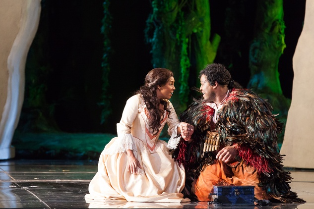 Houston Grand Opera HGO The Magic Flute January 2015 Nicole Heaston as Pamina and Michael Sumuel as Papageno