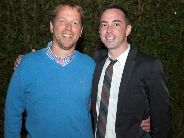 Marcel Witte, left, and Travis Johns at Rothko Chapel's Moonrise Party on the Plaza October 2013