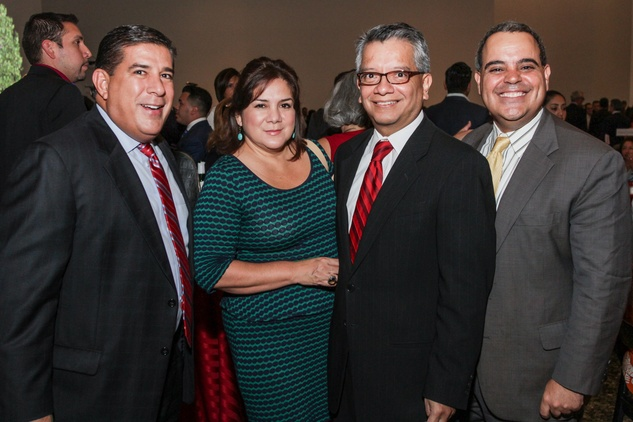 John Hernandez, from left, Terry Morales, David Ruiz and David Chaumette at the Mayor's Hispanic Heritage Awards event October 2014