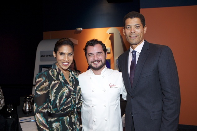 1278 Rachel McNeil, from left, David Cordúa and Dr. Wayne Franklin at the Passport to the World wine and food event at The Health Museum October 2014