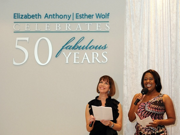Elizabeth Anthony, Esther Wolf, 50th anniversary party, October 2012, Emcees Roseann Rogers, Sharron Melton