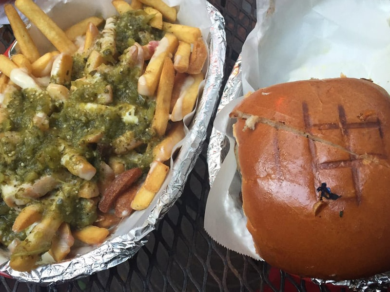 Casino El Camino burger green chile cheese fries