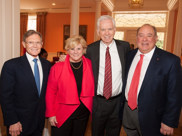 Bill Helms, from left, Paula Sutton, Charles Foster and Eduardo Aguirre at the Interfaith Ministries luncheon January 2014