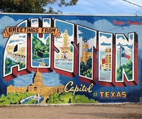 Roadhouse Relics Greetings from Austin postcard mural