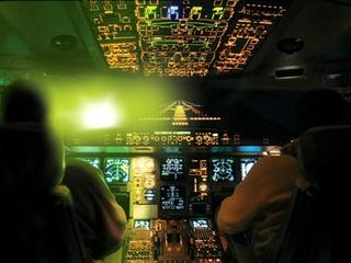 Laser pointer hits plane