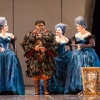 Houston Grand Opera HGO The Magic Flute January 2015 Carolyn Sproule as Third Lady, Michael Sumuel as Papageno, Megan Samarin as Second Lady and D'Ana Lombard as First Lady