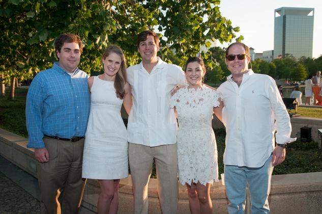 Jennifer Hobson, from left, Gregory Kaldis, Kelly and David Leonard and Jon Sanfelippo at the Urban Green Birthday en Blanc May 2014