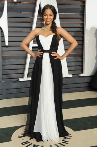 Zoe Saldana in Prabal Gurung gown at Vanity Fair Oscar party