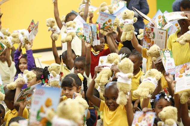 John Moore book donation and teddy bears