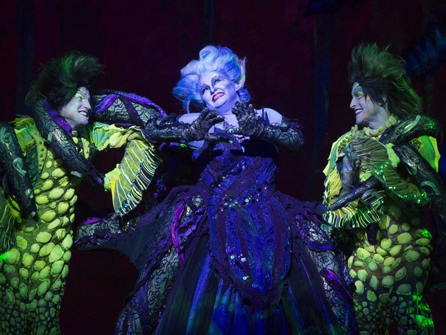 Scott T. Leiendecker, Jennifer Allen, and Jeffrey Christopher Todd in The Little Mermaid