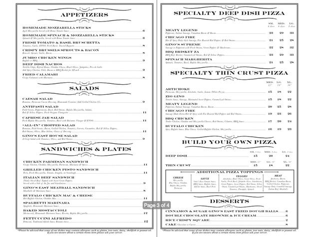 Gino's East menu October 2014