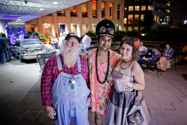 255 Ralph Ullrich, from left, Harbeer Sandhu and Beennie Jowman at the Art Car Ball April 2015