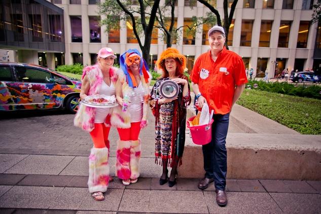 260 Susan Schulz, from left, Elizabeth Neison, Susan Biederberg and Carl Gudarian at the Art Car Ball April 2015