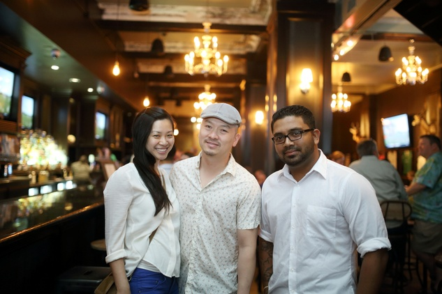 Choe Dang, from left, Anh Mai and Sharif Al-Amin at the Springbok restaurant kick-off party July 2014