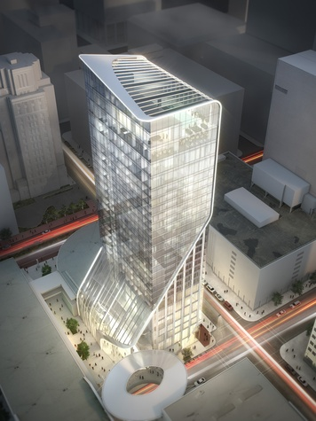 Hotel Alessandra luxury hotel rendering GreenStreet Super Bowl March 2014 aerial view
