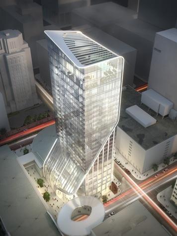 Hotel Alessandra luxury hotel rendering GreenStreet Super Bowl March 2014 aerial view