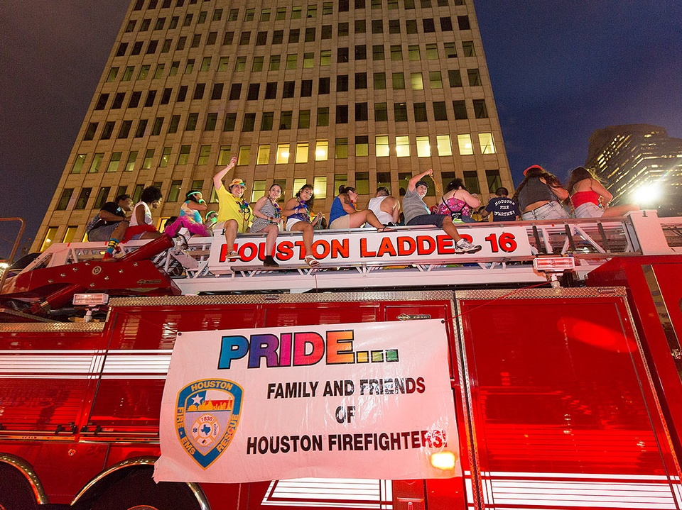 Houston Pride 2015 firefighters in downtown parade