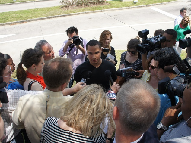 Student Michael Chalfon with press at Lone Star College Cy-Fair press conference