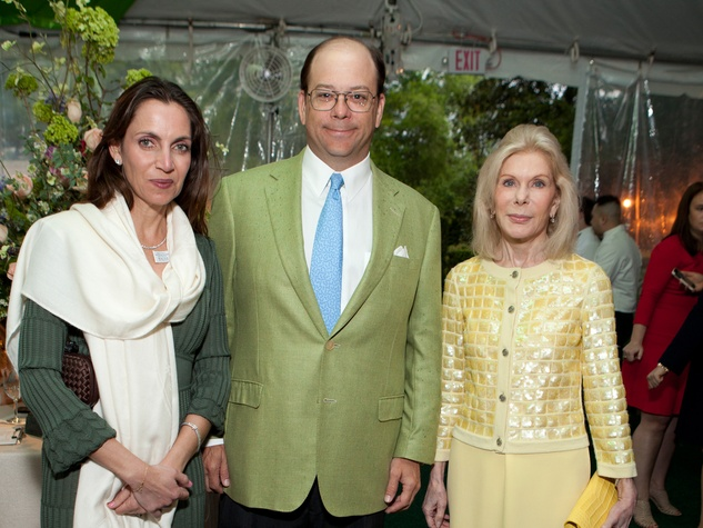 Aliyya and Herman Stude, from left, with Frances Marzio at the Bayou Bend Garden Party April 2014