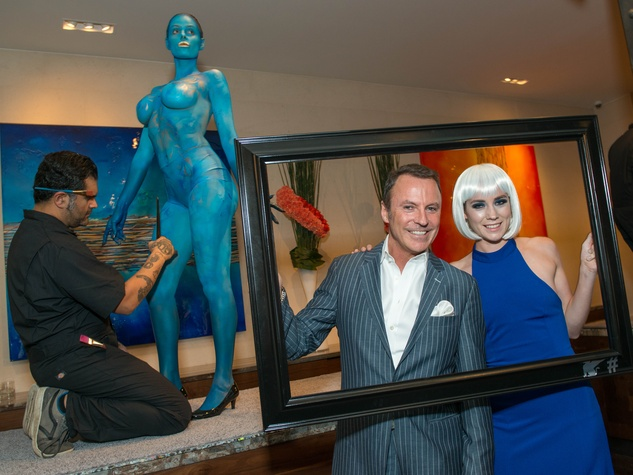3 Collin Cowie with model at the JW Marriott Houston Grand Opening November 2014