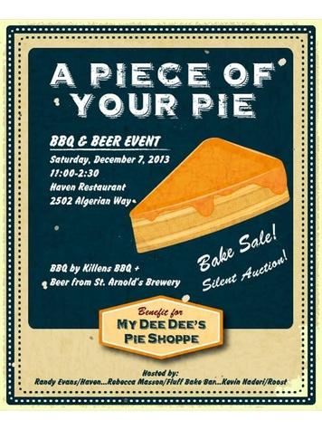 My Dee Dee's Pie Shoppe bake sale promotional poster