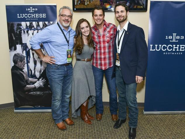 Damon Moberly, Sofia Ruzo, Easton Corbin, Andres Ruzo at Houston rodeo Lucchese party March 2014