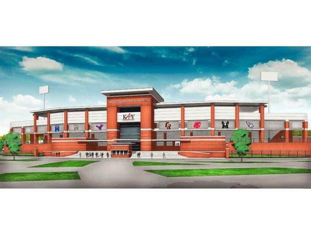 Katy stadium proposal front of stadium rendering October 2013