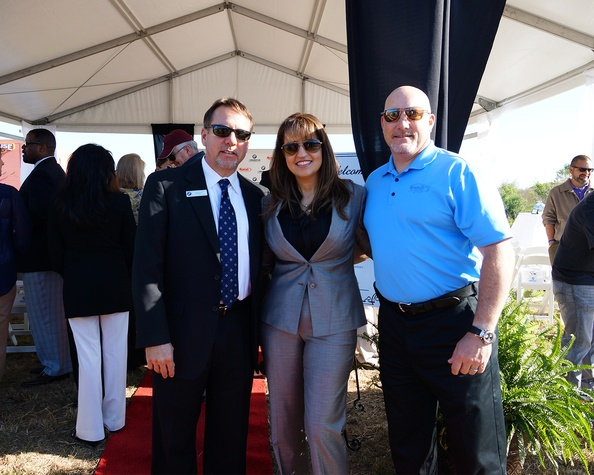 Randy Baxter, from left, Maria Moncada-Alaoui and Steve McNamara at the BMW West groundbreaking party April 2014