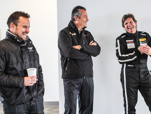 Driver Ryan Lewis, Conquest team owner Eric Bachelart and driver Didier Theys for Ride Drive Give Formula 1 ride along