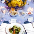 17 table setting place setting salad flower arrangement at the New York Philharmonic Opening Night October 2013
