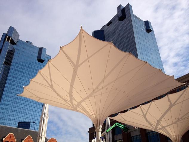 Giant umbrellas in Sundance Square Plaza