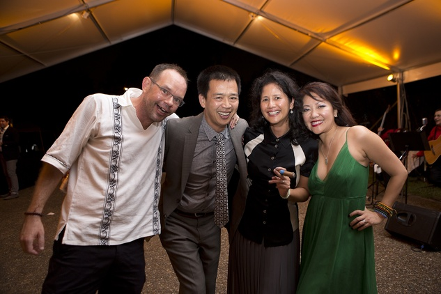 Camilo Parra, from left, Chung Nguyen, Bennie Flores Ansell and Thuy M. Tran at the Rothko Chapel Moonrise Party October 2014
