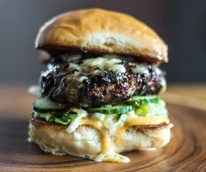 Oasthouse Kitchen and Bar Austin restaurant Umami blended mushroom beef burger