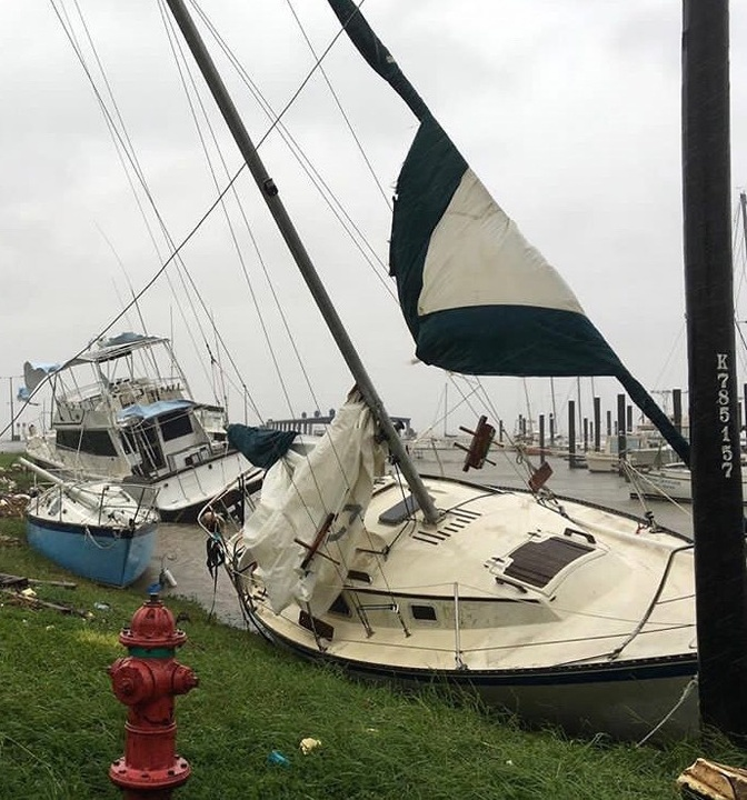 Houston, Hurricane Harvey, flood photos, boat in Port Lavaca