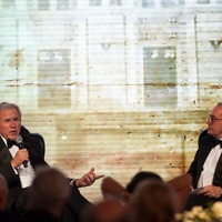 George W. Bush, left, and Ed Djerejian at the Baker Institute 20th Anniversary Gala November 2013