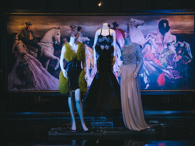 dresses on mannequins at the Fashion Houston Launch Party October 2013